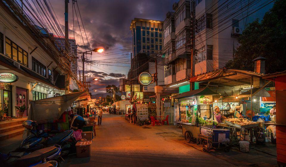 Street At Dusk in Chiang Mai, Thailand