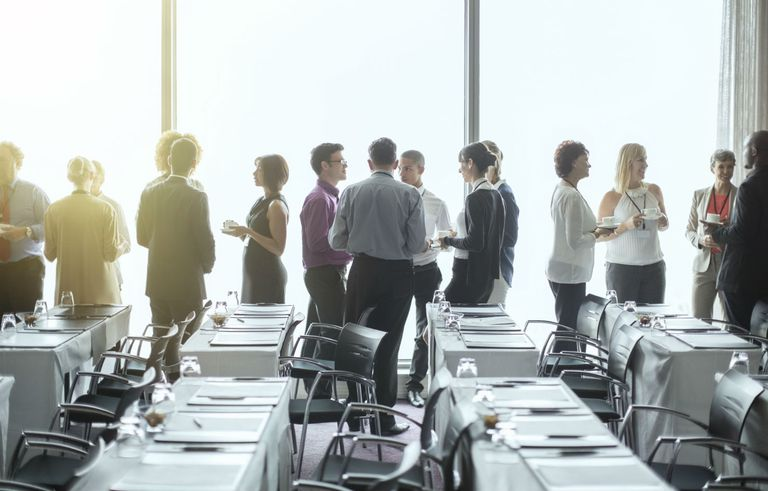 Business professionals at a networking event