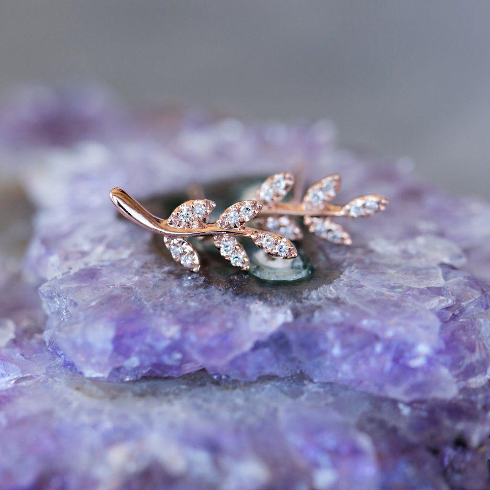 Rose Gold Jewelry: Diamond leaf stud earrings