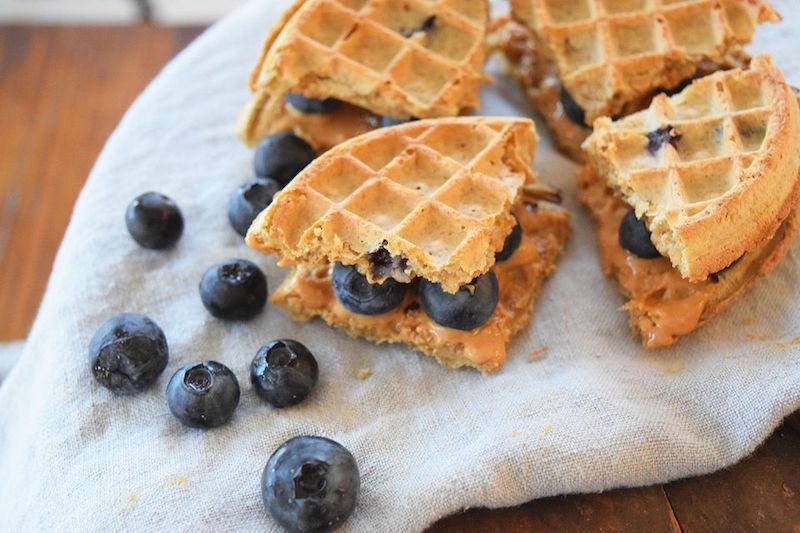 Blueberry and peanut butter waffle sandwich