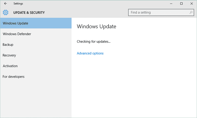 Screenshot of Windows Update in Windows 10