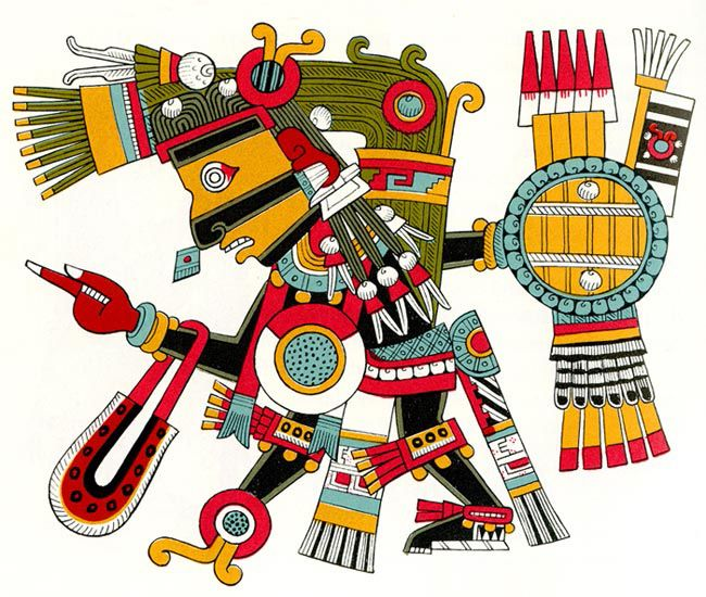 The Aztec God Tezcatlipoca from the Borgia Codex