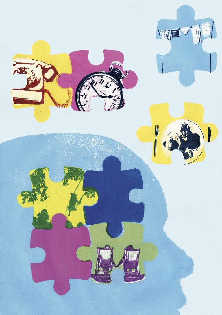 Jigsaw puzzle pieces of time, aging and memory loss inside of mans head