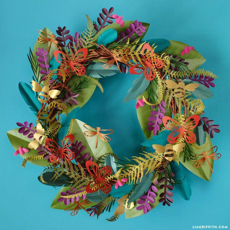 boho style paper flower wreath