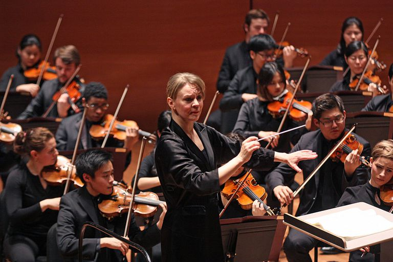 Susanna Malkki conducts the Juilliard Orchestra in Brahms's 'Symphony No. 4' at Alice Tully Hall on Thursday night, December 15, 2016.