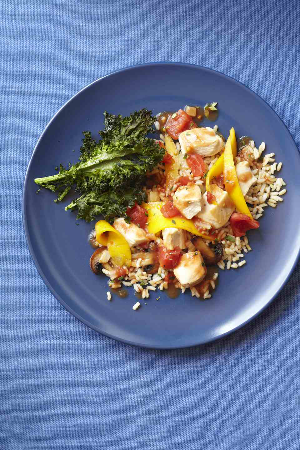 Mango Chicken on Rice with Kale