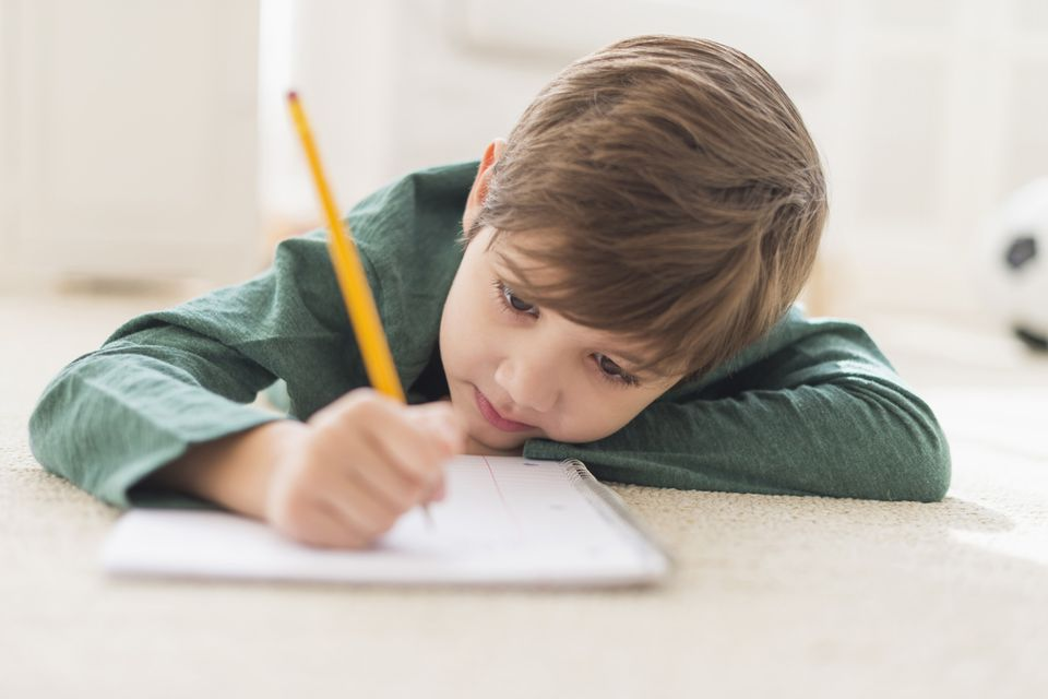 A young boy writes in a notebook.