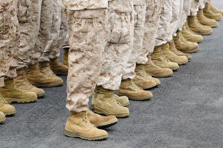Close up of rows of soldiers' boots