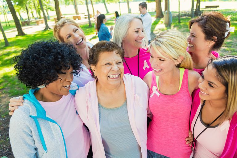 Diverse group of women raising money for breast cancer research