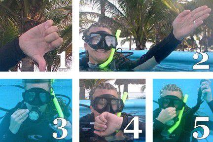 The five steps of a proper scuba diving descent.