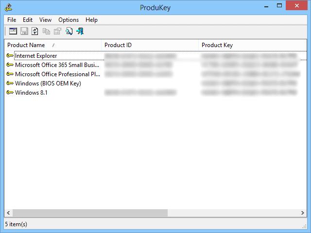 Screenshot of ProduKey v1.83 in Windows 8