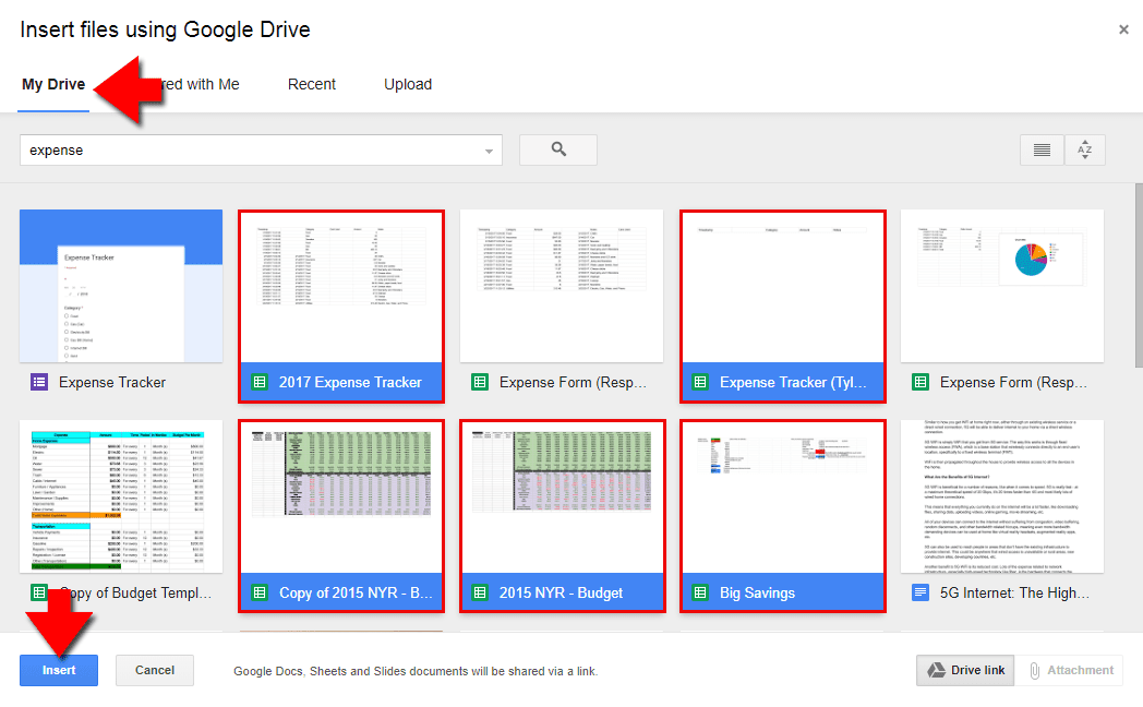 Screenshot showing how to insert files into Gmail from Google drive