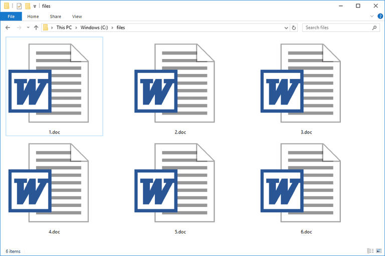 Screenshot of several DOC files used with Microsoft Word in Windows 10