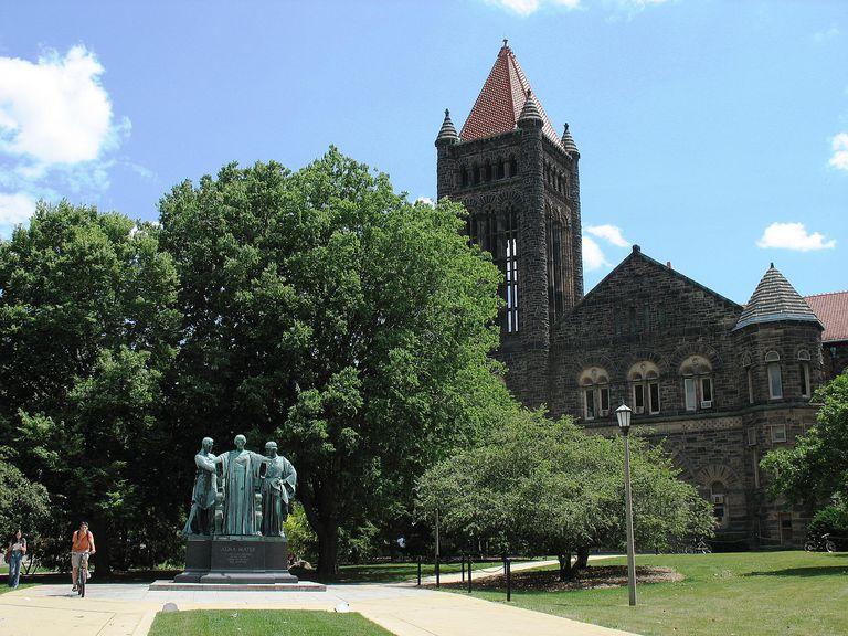 Altgeld Hall and Alma Mater Statue at UIUC, the University of Illinois Urbana-Champaigne