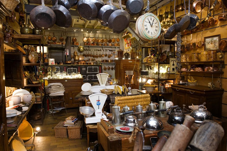 Francois Bachelier's in Paris, France filled with antique kitchen utensils.