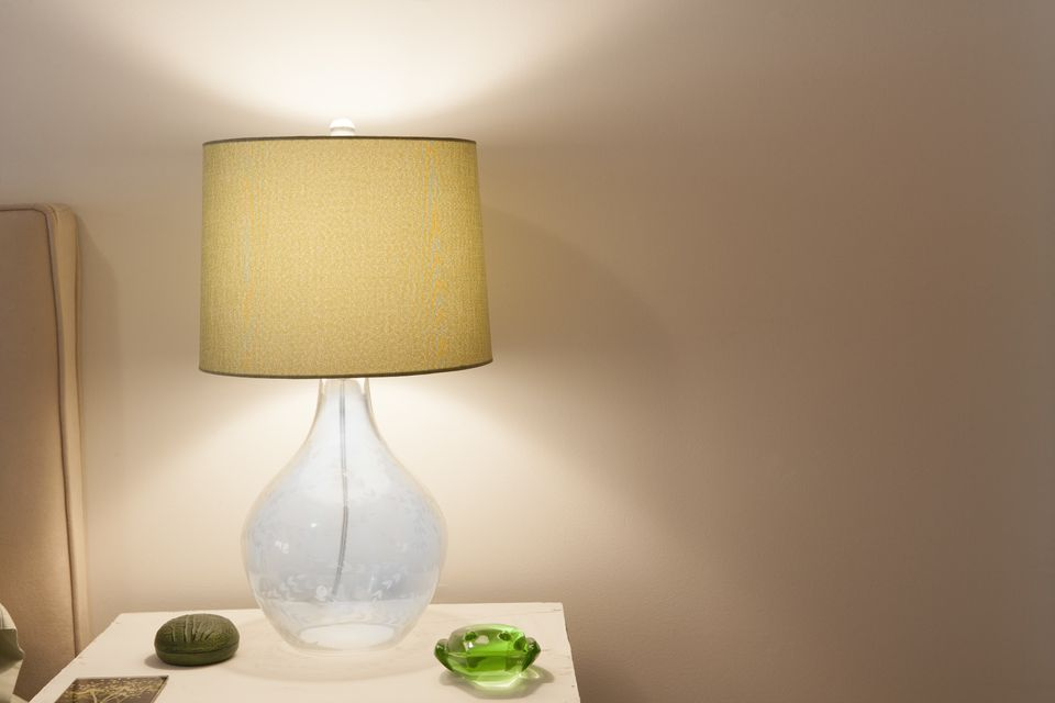 Illuminated Glass Bedroom Lamp on Side Table