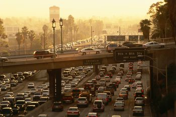 Traffic Jam At Rush Hour On Harbor Freeway Downtown L A Los Angeles Kalifornien