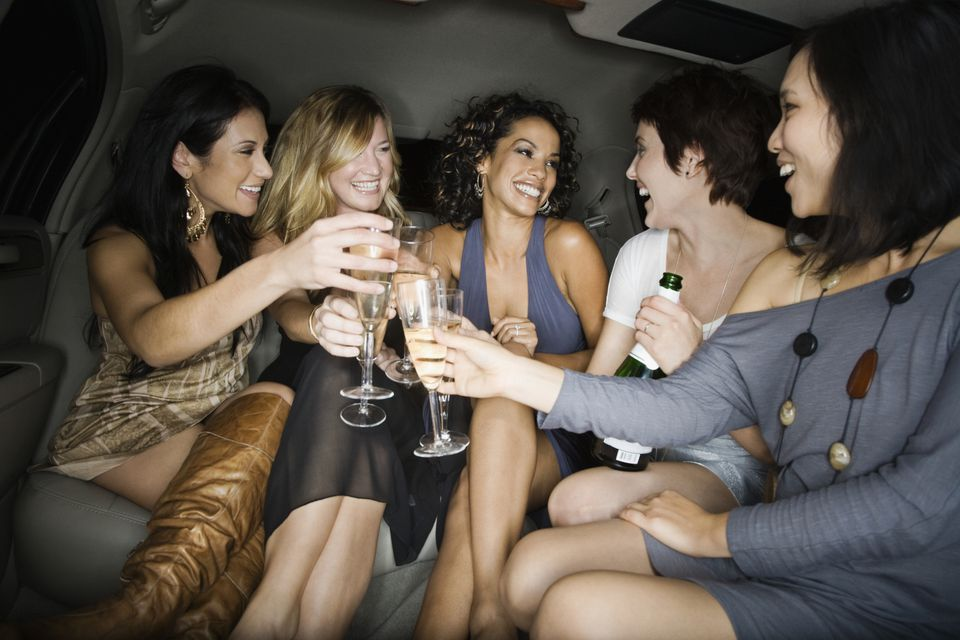 Women toasting with champagne