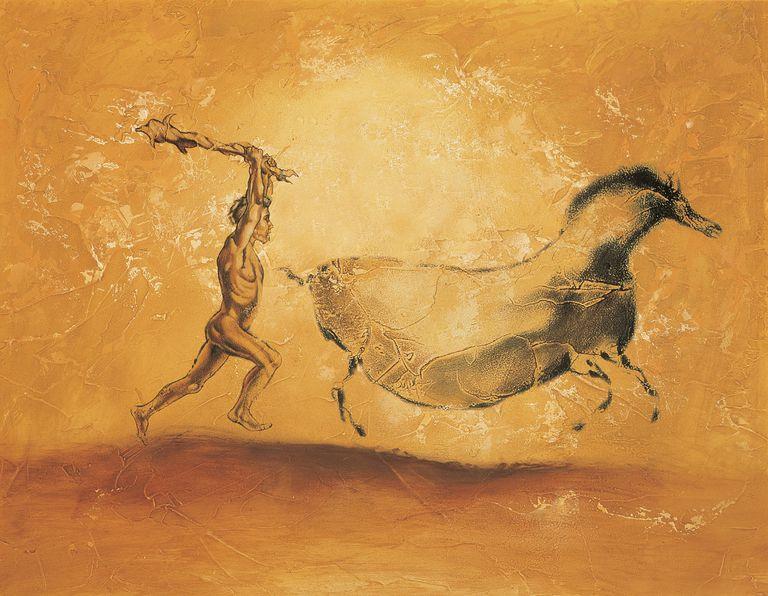 Caveman Chasing Wild Animal with Club, Painting