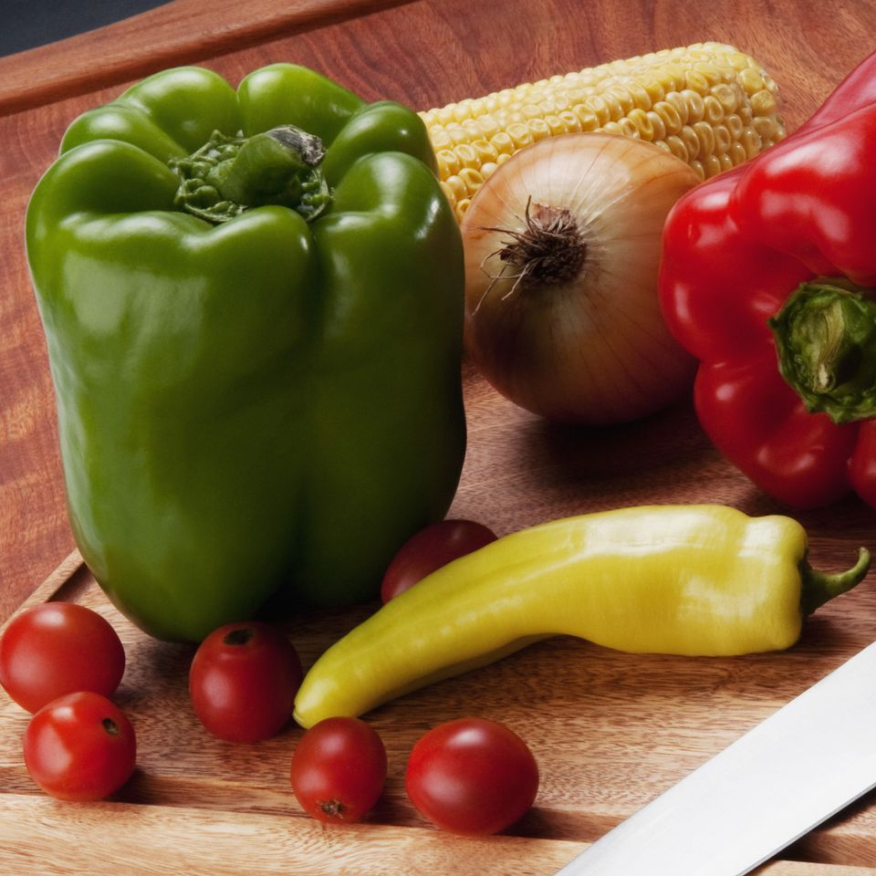 Close-up of assorted vegetables on a cutting board