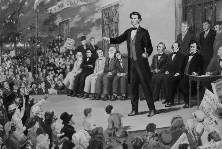 Illustration of Lincolns peaking onstage