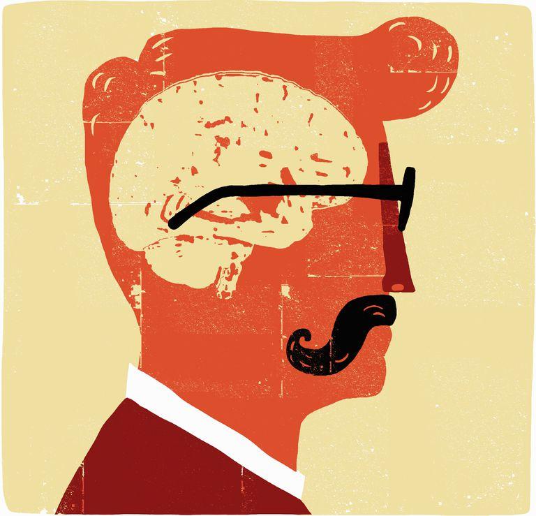 Brain inside head of man with mustache