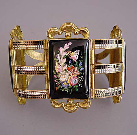Enameled pinchbeck bracelet, Swiss, ca. 1830-40