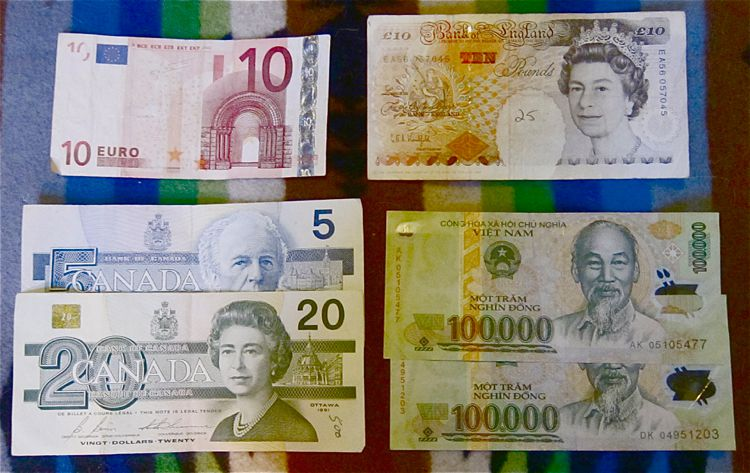 Foreign money: the euro, the pound, the loonie, and more
