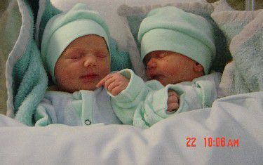 6 hour old fraternal twins, Sofia and Mia