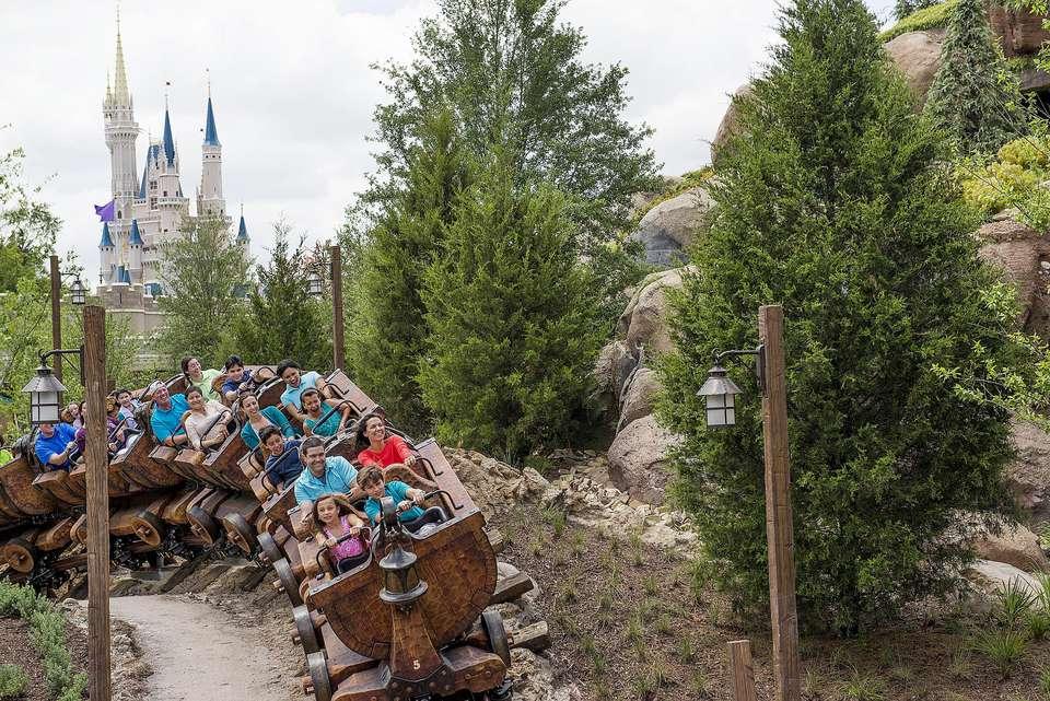 Seven Dwarfs Mine Train Ride swinging cars