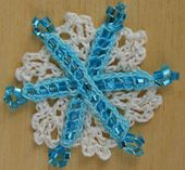Crochet Snowflake Ornament Made With Beads, Wire and Thread