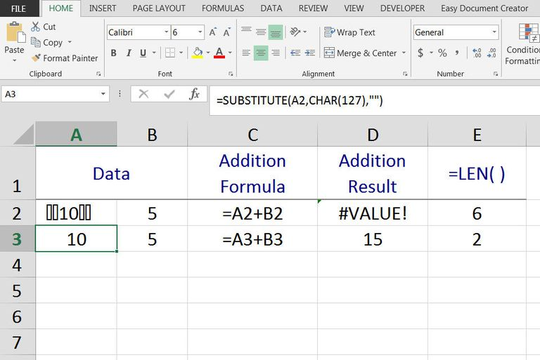 Remove ASCII Character #127 from Data in Excel
