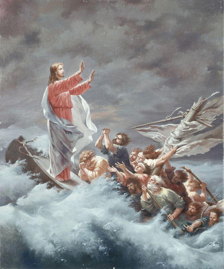Jesus Christ calming storm sea lake