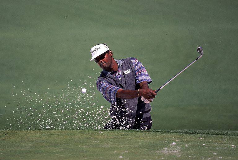 Vijay Singh plays out of a bunker during practice for the 2000 Masters Tournament