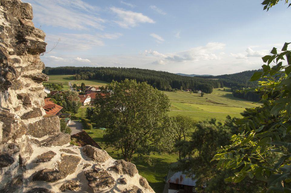 view from Weissenstein ruins, Pfahl, Bavarian Forest, Bavaria, Germany