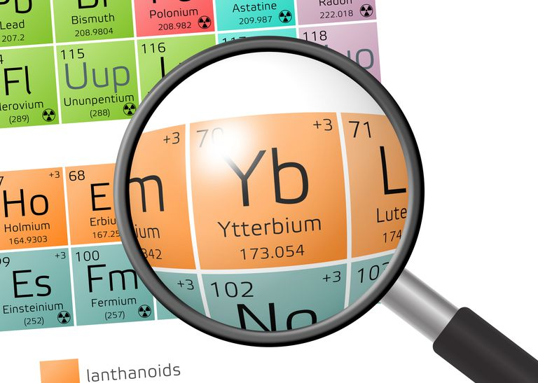 Pure ytterbium is a lustrous silver metal.