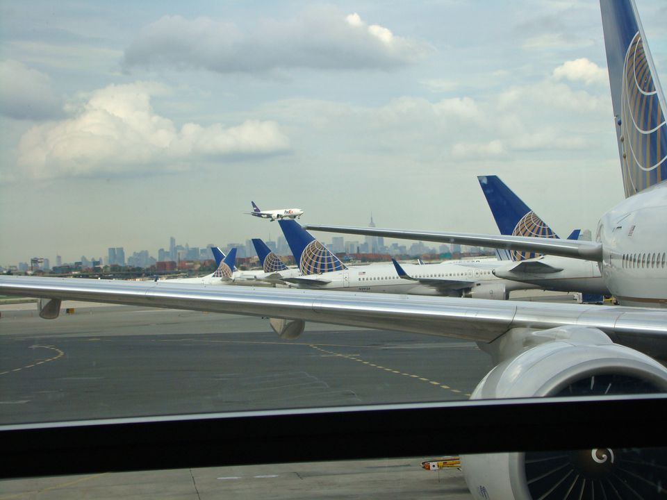 Planes readying for takeoff from Newark.