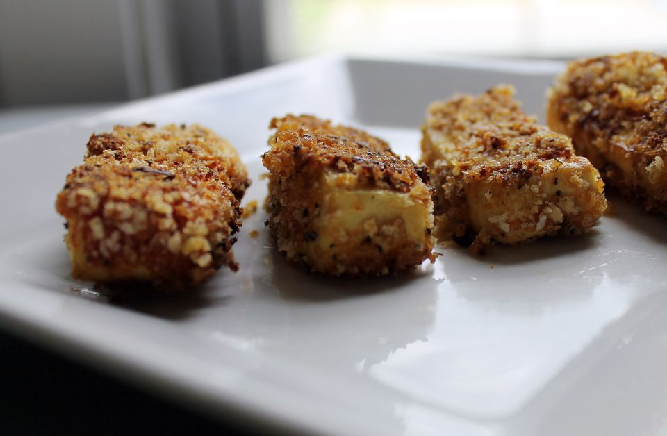Easy fried and breaded tofu sticks ready to get dipped!