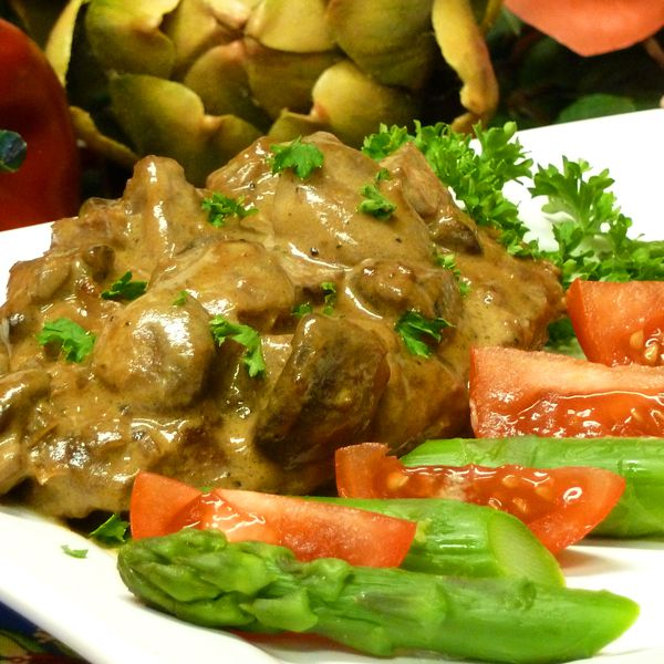 pork recipe, steaks, loins, mushrooms, stroganoff, meat, entree, receipts