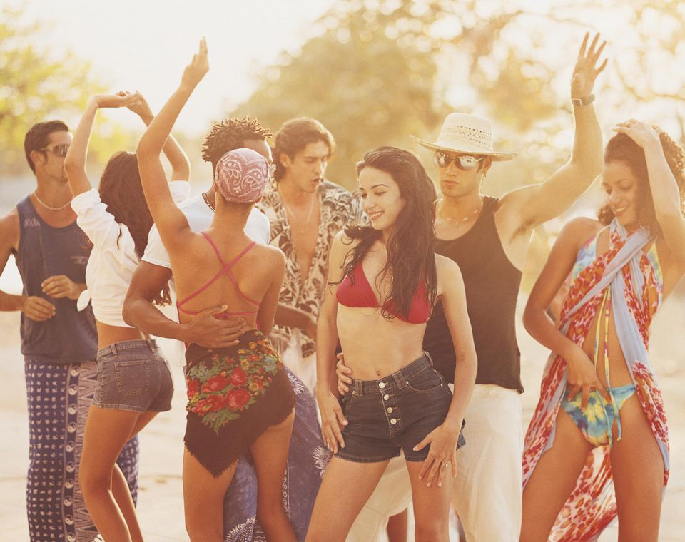 People Dancing at a Beach Party