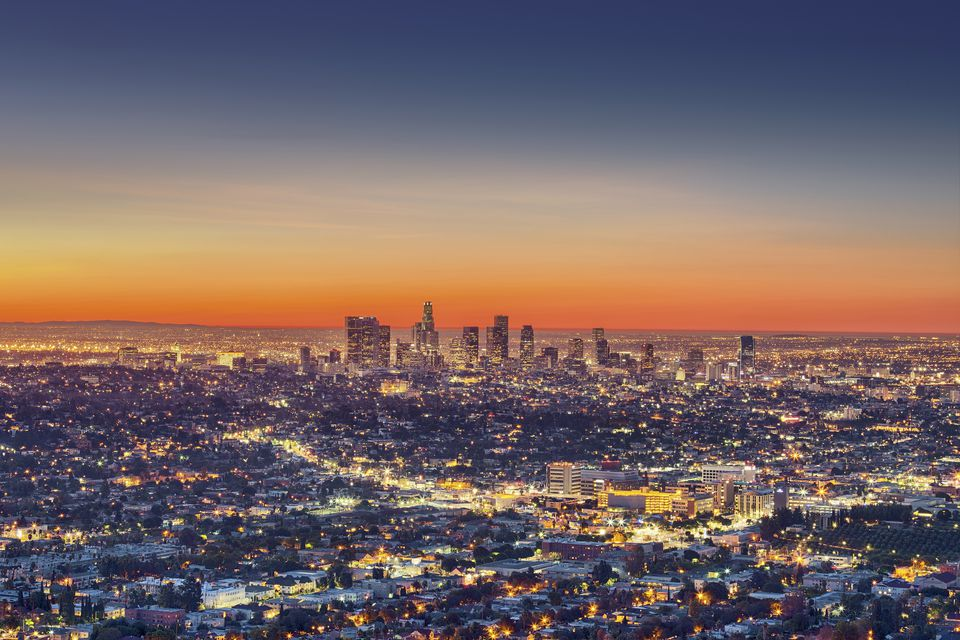 Cityscape at dawn, Los Angeles, California, United States