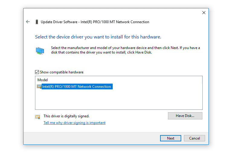 Screenshot of the Update Driver Software wizard in Windows 10
