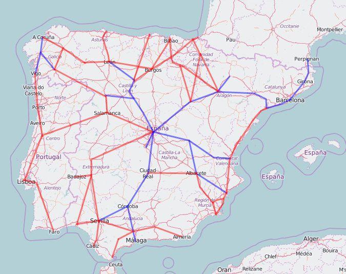 map of rail lines in spain
