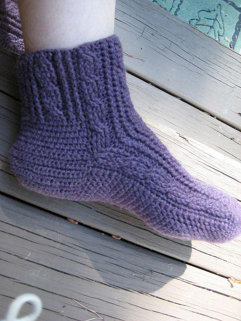Cabled Crochet Socks Free Pattern