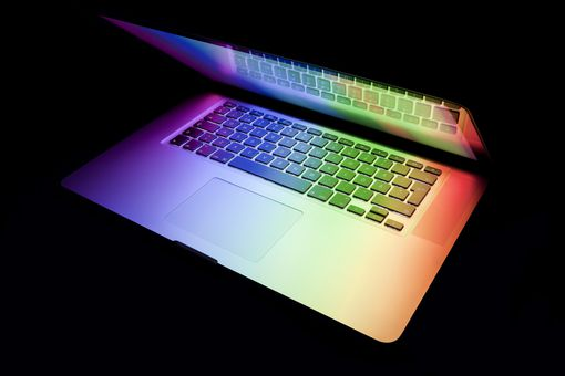 Macbook with colorful display