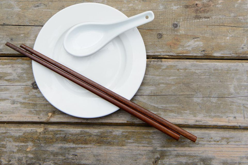 Chopsticks, spoon, and plate
