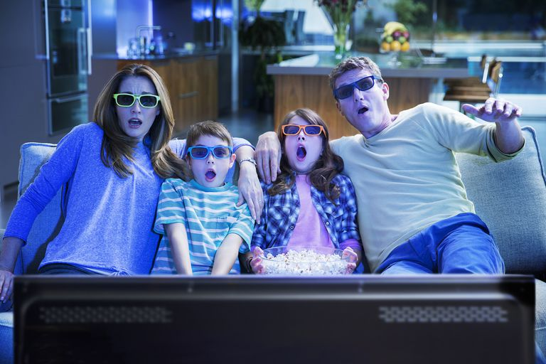 Family Enjoying 3D Movies on Their Television
