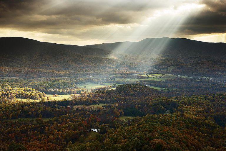 Sunbeams Shining onto a Pastoral Landscape