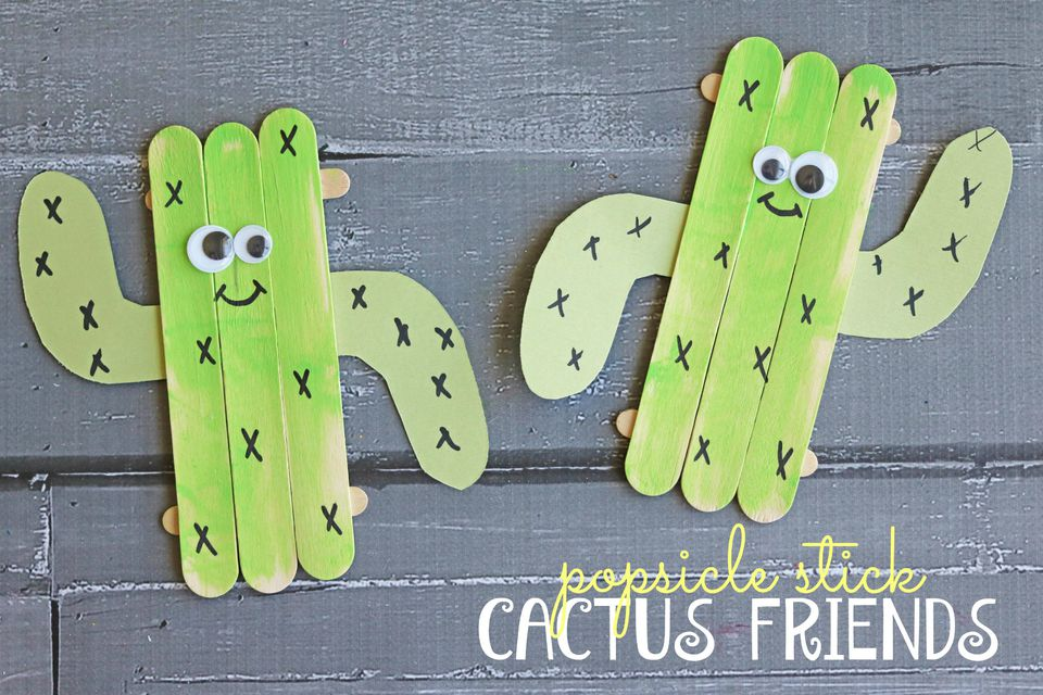 DIY: Popsicle Stick Cactus Friends Kid Craft