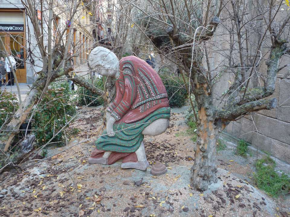 A caganer, the slight gross addition to every nativity scene in Barcelona